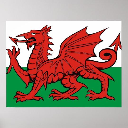 "Welsh flag, ""Cymru am byth"",   The red dragon Poster"