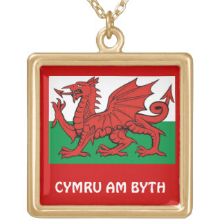 """Welsh flag, """"Cymru am byth"""",   The red dragon Square Pendant Necklace"""