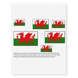 Welsh flag design body transfers temporary tattoos