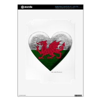 Welsh Flag Heart Collage Decal For iPad 3