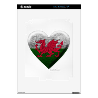 Welsh Flag Heart Collage Decals For iPad 2
