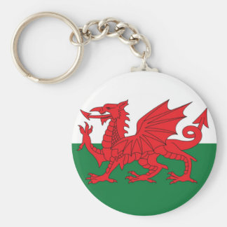 Welsh Flag Keyring Basic Round Button Keychain