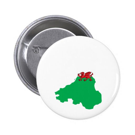 Welsh Flag Map full size 2 Inch Round Button