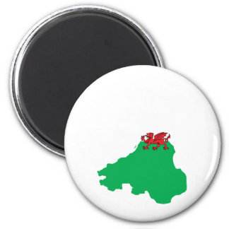 Welsh Flag Map full size 2 Inch Round Magnet