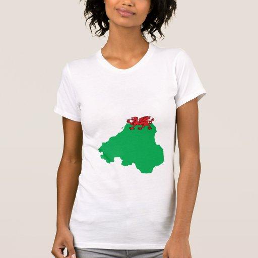 Welsh Flag Map full size Tshirts