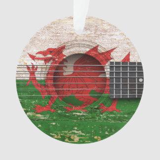 Welsh Flag on Old Acoustic Guitar