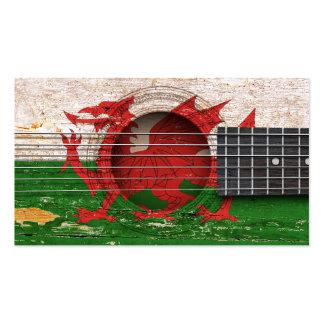 Welsh Flag on Old Acoustic Guitar Business Card