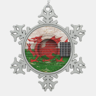 Welsh Flag on Old Acoustic Guitar Snowflake Pewter Christmas Ornament