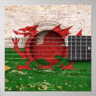 Welsh Flag on Old Acoustic Guitar Poster