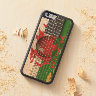 Welsh Flag on Old Acoustic Guitar Carved® Maple iPhone 6 Bumper