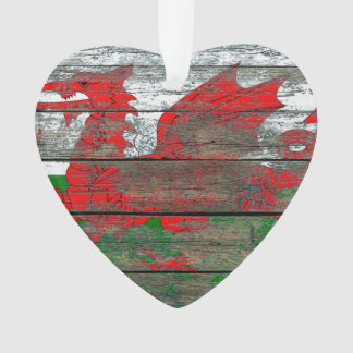 Welsh Flag on Rough Wood Boards Effect