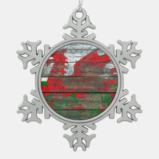 Welsh Flag on Rough Wood Boards Effect Snowflake Pewter Christmas Ornament