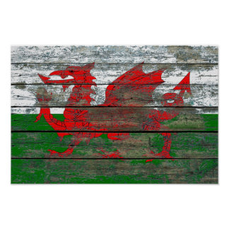 Welsh Flag on Rough Wood Boards Effect Poster