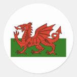 Welsh Flag Round Stickers