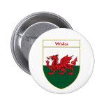 Welsh Flag Shield 2 Inch Round Button