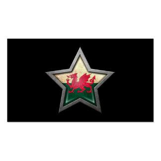 Welsh Flag Star on Black Business Card