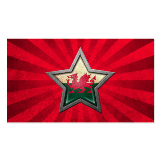 Welsh Flag Star with Rays of Light Business Card Template