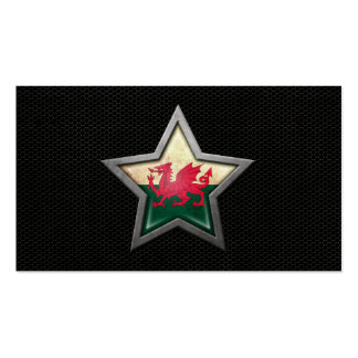 Welsh Flag Star with Steel Mesh Effect Business Cards