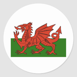 Welsh Flag Round Stickers
