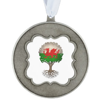 Welsh Flag Tree of Life Customizable Scalloped Pewter Christmas Ornament