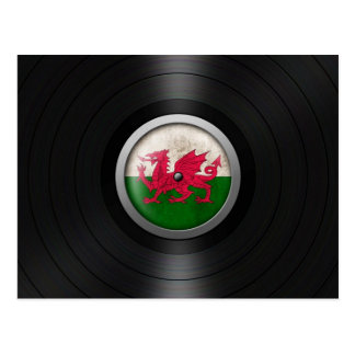 Welsh Flag Vinyl Record Album Graphic Postcard
