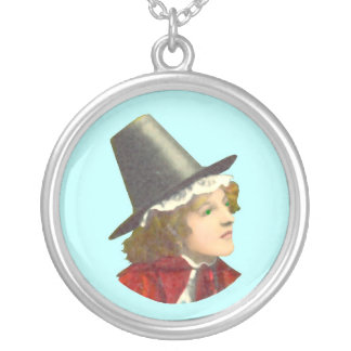 Welsh Girl Cameo Round Pendant Necklace