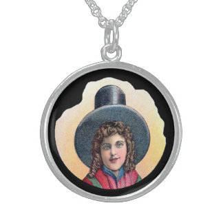 Welsh Girl Cameo Sterling Silver Necklace
