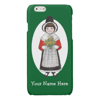 Welsh Girl in Costume, Green and White Background Glossy iPhone 6 Case