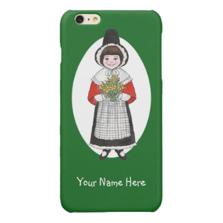 Welsh Girl in Costume, Green and White Background Glossy iPhone 6 Plus Case