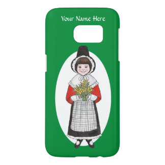Welsh Girl in Traditional Costume to Personalize Samsung Galaxy S7 Case