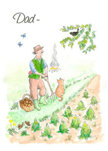 Welsh Greeting Birthday Card For A Man Gardening
