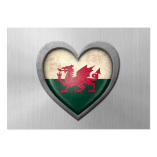 Welsh Heart Flag Stainless Steel Effect Business Cards