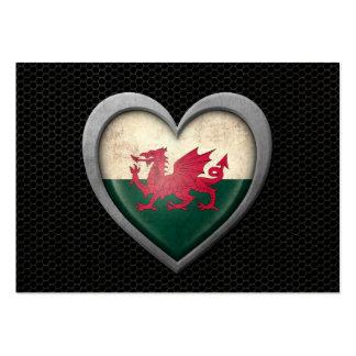 Welsh Heart Flag Steel Mesh Effect Business Card Template