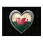 Welsh Heart Flag Steel Mesh Effect Post Card