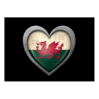 Welsh Heart Flag with Metal Effect Business Cards