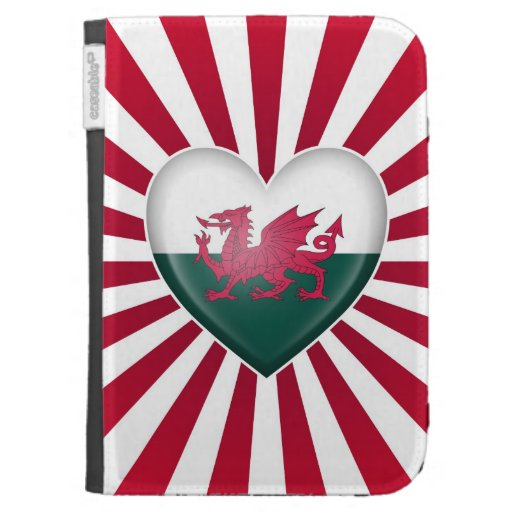 Welsh Heart Flag with Star Burst Kindle 3G Cases