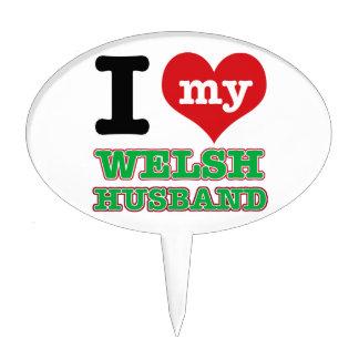 Welsh I heart designs Cake Pick