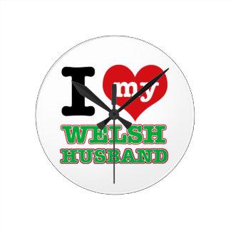 Welsh I heart designs Round Wallclock