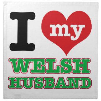 Welsh I heart designs Printed Napkin