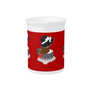 Welsh Lady Design With Traditional Costume Beverage Pitcher