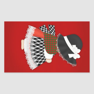 Welsh Lady Design With Traditional Costume Rectangular Sticker
