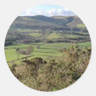 Welsh Mountain Walk in Winter Classic Round Sticker
