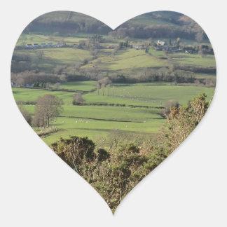 Welsh Mountain Walk in Winter Heart Sticker