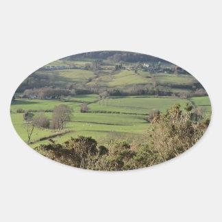 Welsh Mountain Walk in Winter Oval Sticker