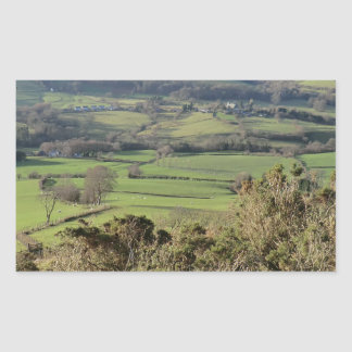 Welsh Mountain Walk in Winter Rectangular Sticker