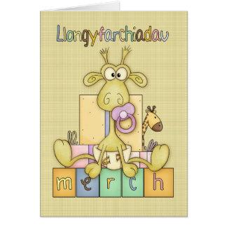 Welsh New Baby Girl Congratulations, Llangyfarchia Card