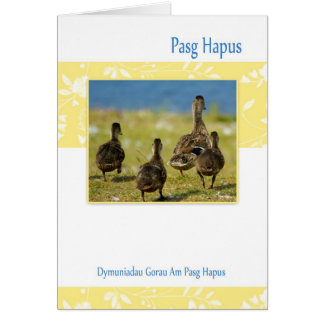 Welsh Pasg Hapus, Easter Card With Spring Duckling