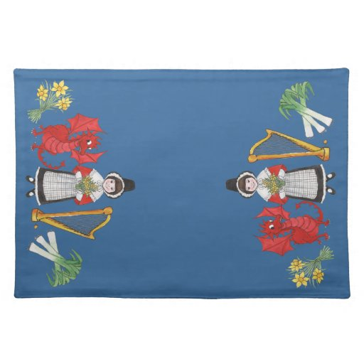Welsh Placemat Daffodils Dragon Leeks Harp Cloth Place Mat