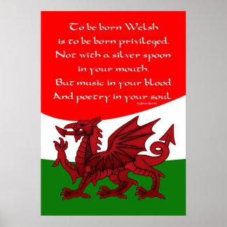 Welsh Poem Poster - Print Welsh  Dragon
