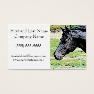 Welsh Pony Black Horse Head Ink Drawing Art Business Card